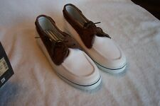Eddie Bauer Deckmate Leather & Canvas Boat Shoes White / Brown Mens Size 8.5 NIB