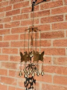 SMALL VINTAGE BRASS BUTTERFLY & BELL INDOOR OUTDOOR WIND CHIME