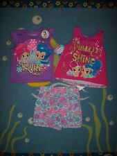 Shimmer and Shine Outfit 3pc Set 2 Tops 1 Shorts Girls 2Toddler Pink Purple New