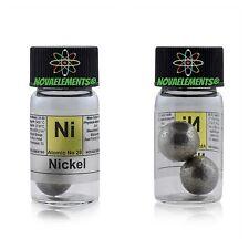 Nickel metal element 28 Ni sample spheres 99,9% >12 grams in labeled glass vial