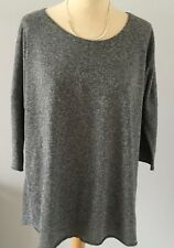 Bargain! TOPSHOP Scoop Neck 3/4-Sleeve Grey Marl Back-Seam Jumper UK10 / EUR38