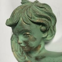 """Angel Themed Art Wall Plaque Green and Gold Heavy Ceramic 4.5"""" Tall 4.75"""" Wide"""
