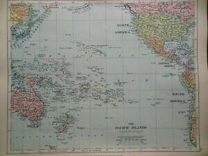 Original Antique Map of The Pacific Islands (c1920) inc Australia/NZ, Stanford