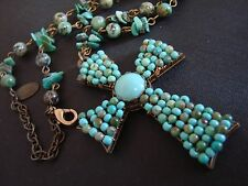 VINTAGE SIGNED MIRIAM HASKELL TURQUOISE GLASS CHUNKY SEED BEADS CROSS NECKLACE
