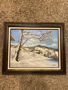 H.LEMON WINTER STILL LIFE FRAMED ORIGINAL OIL ON CANVAS PAINTING