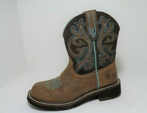 ARIAT Cowboy Boots Womens Brown Leather Western Rodeo Roper Boots US Size 7B