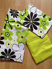 New Lime / White & Brown Flower Design Single Fitted & Loose Sheet & pillowcase
