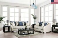 Modern Casual Comfortable Ivory Sofa Loveseat 2pc Set Cushion Seat Sloped Arms