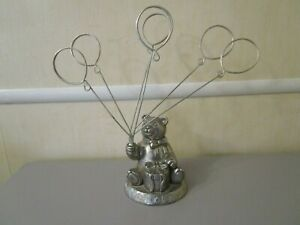 """Godinger  ABC Teddy Bear Silver Plated 6- Picture-Card Holder Metal Figurine 10"""""""
