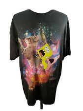 Nickelodeon Men's XL Spongebob Patrick Riding Cat in Space Black T-Shirt Funny