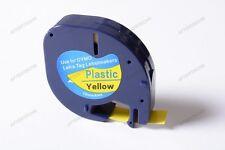 91202 NERO SU GIALLO NASTRO PLASTIC COMPATIBILE LETRATAG CARTUCCIA 12mm
