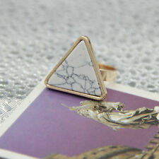 Fashion Gold Plated Turquoise Geometric Shape triangle Cocktail Ring