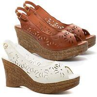 New Womens Ladies High Wedge Heels Platform Sandals Summer Peep Toe Shoes UK 3-8