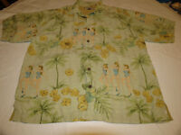 Tommy Bahama Silk Men's button shirt L rn86549 palm trees green EUC @