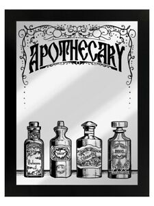 Tin Sign Apothecary Mirrored Framed Black 35x45cm