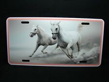 HORSE  METAL NOVELTY LICENSE PLATE TAG FOR CARS WHITE MUSTANG HORSE