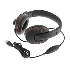 Leather USB Wired Stereo Micphone Headphone Mic Headset for Sony PS3 PS4 Game LY