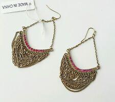 Costume dangle earrings gold tone pink jewel NWT