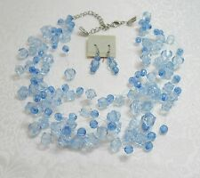 MULTI-LAYER TWO TONE BLUE FACETED ACRYLIC BEAD NECKLACE & EARRING SET