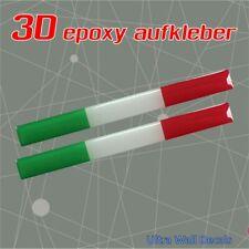 2 x Italienische Flagge - 3D Gel - Aufkleber Sticker Decal - epoxy 100mm x 10mm