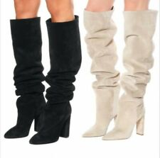 Womens Pointy Toe Block Heels Over Knee Thigh High Fashion Boots 3 Colors Shoes
