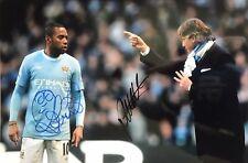 ROBINHO E ROBERTO MANCINI Firmato a Mano Manchester City 18x12 foto.