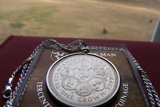 """1979 Isle of Man MANX CAT CROWN Pendant  30"""" Italy .925 Silver Rope Chain. 39mm"""