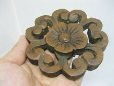 "4"" Dia Thai Vintage Carved Wood Wall Decor Panel Flower Wood Wall Art Home Decor"