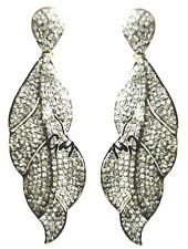 Diamond Gold Silver Leaf Earring Exemplary Handcrafted 5.90 Ct. Rose Cut