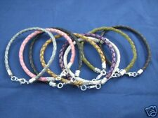 Genuine Leather Bracelet with Sterling Silver Clasps and a Charm ALL COLORS