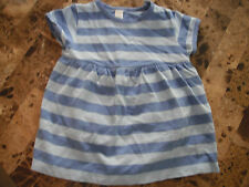 baby girls LANDS' END DRESS 1 piece SNAP BOTTOM blue stripes EUC! 12 months 12M