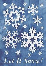 """Let It Snow! Winter Garden Flag Snowflakes 12.5"""" x 18"""" Seasonal Briarwood Lane"""