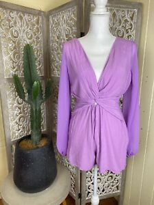 Finders Keepers Purple Playsuit Chiffon Sleeves Size 8