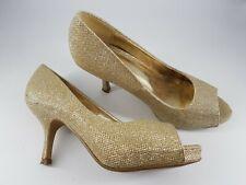 Shoe Box size 4 (37) gold sparkly glitter peep toe hidden platform kitten heels
