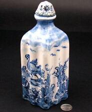 Antique Hand-Painted Savona Pottery Blue Faience Italian Maiolica Flask Bottle