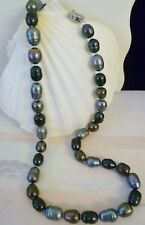 9- 11mm BLACK, SILVER, CHOCOLATE FRESHWATER PEARLS 49 CM LONG STRAND