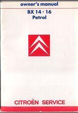 CITROEN BX 14 & 16 gasolina 1987-88 Original Owners Manual (Manual) En Inglés