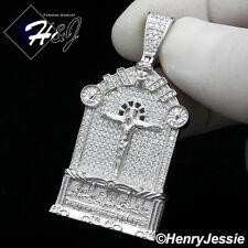 MEN 925 STERLING SILVER LAB DIAMOND ICED OUT BLING JESUS CHARM PENDANT*SP157