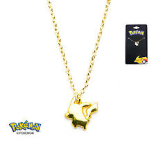 AUTHENTIC Pokemon Pikachu Gold PVD Plated Pendant Necklace Stainless Steel