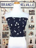 Brandy Melville Navy Blue White Rose Floral ruffle smocked cleo tube top NWT
