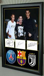 "Messi Ronaldo Neymar  Framed Canvas Tribute Signed ""Great Gift"""