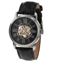 Montine Roman Numerals Automatic Skeleton Black Leather Strap Watch MOW4754GSK