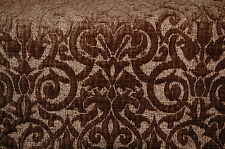 Raised Brown Chenille Damask Upholstery Fabric 3 Yds