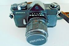 Pentax Asahi Spotmatic 35mm SLR Film Camera Black w/Case & 1:4/50 Macro Lens