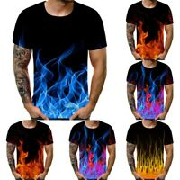 Men Summer Casual Tee Shirt Short Sleeve Blouse Cool Blue Flame 3D Print Tops CR