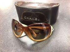 Authentic CHANEL 6032 1018/13 115 3 CC Camellia Flower Beige Gradient Sunglasses
