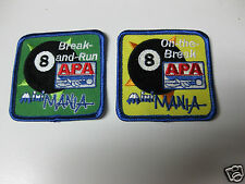 APA POOL LEAGUE MINI MANIA NATIONAL CHAMPIONSHIPS SET OF TWO PATCHES 8 BALL