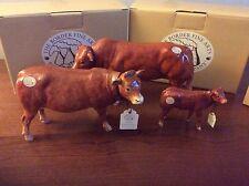 BORDER FINE ART CATTLE LIMOUSIN, COW A4581 ,BULL A4578 CALF A4584 Mint boxed.