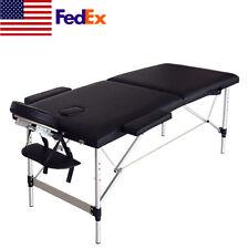 2 Fold Portable Massage Table Facial Spa Tattoo Bed Bodybuilding Aluminum Us