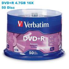 Verbatim 50 Disc Spindle DVD+R 4.7GB/120 mins 16X AZO Recordable Media Disc